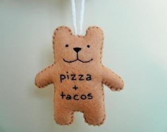 Pizza et ornements de Noël drôles tacos, ornements uniques, cadeaux pour hommes, des amis, des ornements de nourriture