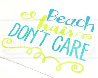 Ladies Beach Hair Don't Care Tank Top Summer Racerback Tank Beach Racerback Ladies Tank Top Summer Tank Top Swimsuit Cover Up Racerback Tank
