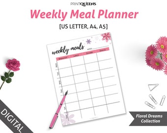 Weekly Meal Planner Printable, Weekly Menu Planner Insert, Meal Planner Insert, A4 Printable Planner, Meal Planing, A4/A5/US Letter