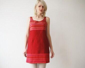 90s CACHAREL silk mini dress. sleeveless cherry red silk dress - medium