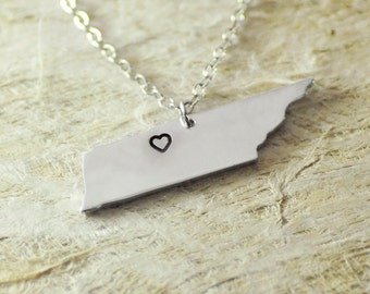 Tennessee Necklace  alloy 925 sterling silver heart necklace Pendant State Necklace State Charm Map necklace Map Jewelry