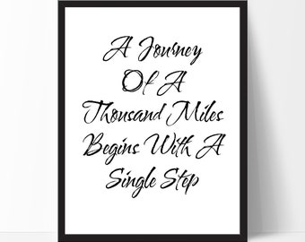 Inspirational Quote, A Journey Of... Typography Wall Art, Typography Poster, Typography Print, Black White Print, Christmas Gift
