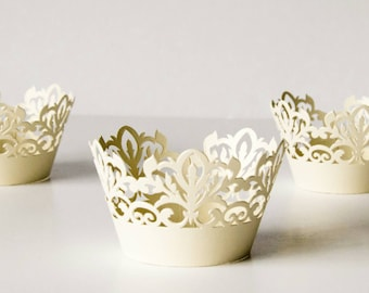 12 Ivory Damask Shimmer Laser Cut Cupcake Wrappers, 12 ct Soft Gold Cupcake Wrap