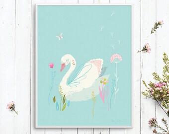 Nursery wall art featuring a tender swan: downloadable printable wall art