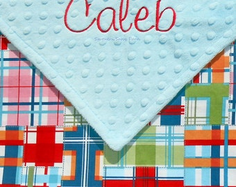 Baby Boy Blanket , Madras Plaid and Minky Blanket - Personalized Blanket