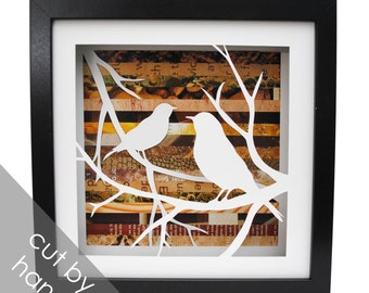 birds on branches shadowbox- made from recycled magazines, wings, delicate, paper cut, handmade, lovebird, sparrow, spring, nature