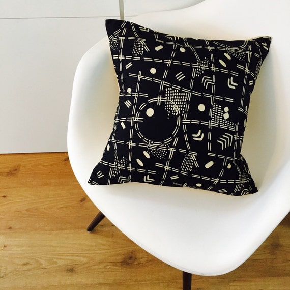 """SALE Black and Cream Boho Tribal Pillow Cover 18""""x18"""" Square Cushion Pillow Ethnic Bohemian Aztec Motif Geometric Abstract Cushion Cover"""