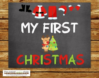 My First Christmas Sign | Baby's First Christmas Chalkboard Sign | My First Holiday Signs | Baby's 1st  Holiday | Reindeer & Christmas Tree