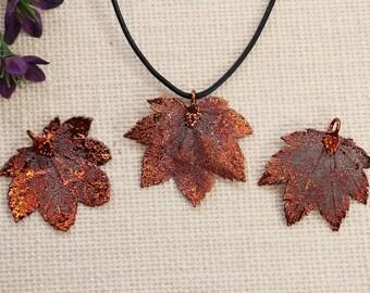 SALE Leaf Necklace, Copper Maple Leaf, Real Full Moon Maple Leaf Necklace, Copper Leaf Pendant, SALE365