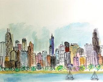"Chicago Skyline - ""Whimsical"" 18"" X 24"" Original Painting"