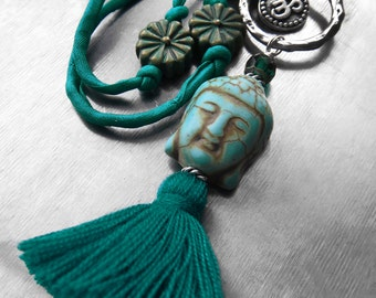 Buddha Tassel Necklace, Teal Green Tassel Necklace with Silk, Silver OM Necklace, Hindu Jewelry, Buddha Buddhist Jewelry, Boho Yoga Jewelry