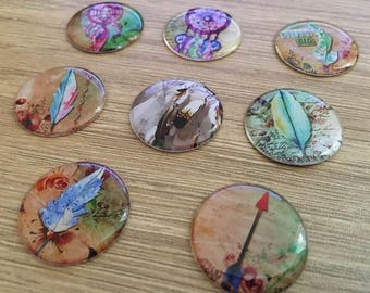 "set of 8 resin cabochons 25 mm ""catches dreams"""