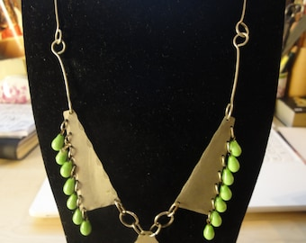 METAL NECKLACE with glass beads from 60's