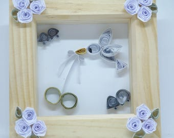 Wedding picture, quilled art, box frame