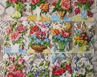 Vintage EAS Germany Die Cut Paper Scraps Of Flower Vases Baskets  EAS 3146