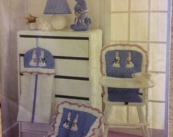 Daisy Kingdom Nursery Bunnies and Bows Sewing Pattern Simplicity 7362 Diaper Stacker, Bunny, and Chair Pad   COMPLETE