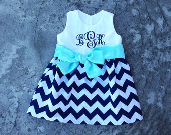 Toddler girl dress, personalized dresses, baby girl outfit, spring dress, monogrammed dress, navy chevron dress, little girl clothes