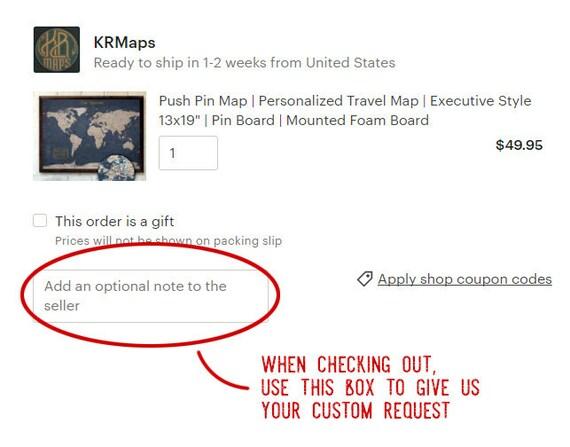 USA Map Push Pin Map Rustic Style 13x19 Customizable