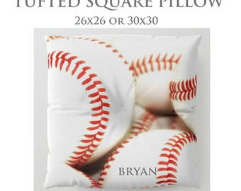 STUFFED Pillow-Baseball Floor Pillow-Sports Decor-Round Floor Pillow-Baseball Decor-Floor Cushion-Seating-Personalized Pillow-Bachelor Decor