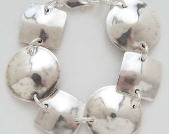Circle Square Bracelet made from Vintage Silver American Half Dollar Coins