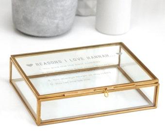 Reasons Glass Jewelry box, Gift For Mum, Personalized Keepsakes Storage, Trinket box, Personalised Reasons I Love You Rectangular Box