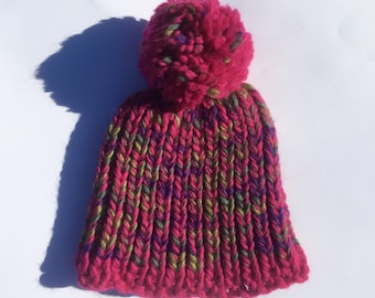 Red chunky knit beanie. Adult.