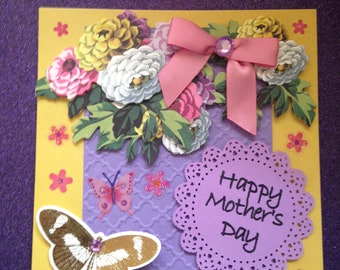 Mother's Day Card/Handmade/3D/6 x 6/Yellow Overlaid in Embossed Lavender/Flowers/Butterflies/Bow/Sentiment