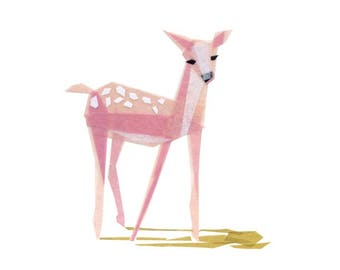 Pinky Fawn - Fawn Art Print, Deer Print, Animal Decor