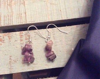 Purple fluorite drop earrings