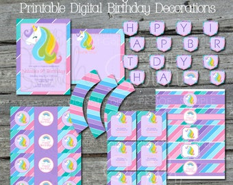 Unicorn Party Printables | Unicorn Digital Party Supplies | Invitation Invite | Thank you | Favor Tags | Cupcake Toppers | Water Bottle