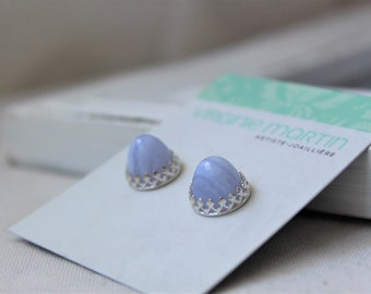 Sterling silver and Rose cut bullets Blue Lace Agate Studs Earrings - Handmade jewelry 10 MM Blue