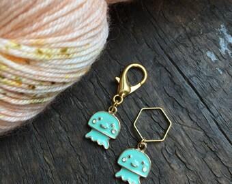 Green Squid Knitting Stitch Marker / Progress Keeper