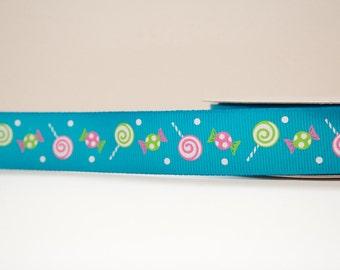 Candy Print 7/8 inch wide Grosgrain Ribbon - 1 yd.