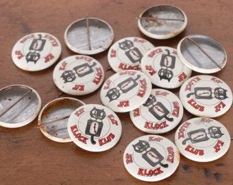 ONE vintage Kit Kat Klock Klub pin back button or badge, Kit Cat Clock Club, retro kitsch, black, white and red, Cathi & Boy's Favorite Toys