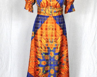 70s Boho bright orange and blue shimmering paisley hippy sheer maxi dress with puff sleeves by Furstenberg size S/M