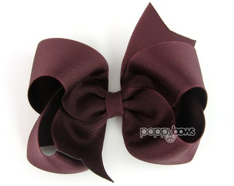 Maroon Hair Bow - 4 Inch Bows - Baby Toddler Girl Hairbows Classic Large Boutique Non Slip Alligator Clips
