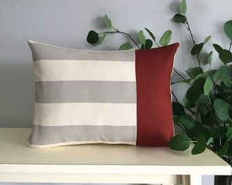 Decorative Pillow Cover, Color Block Pillow, Pillow with Burgundy Stripe