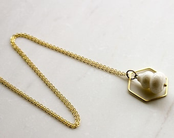 White bone and hexagon long necklace, white and gold necklace, honeycomb necklace, wedding necklace, gift for mom girlfriend wife