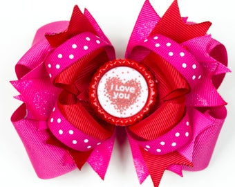 "Valentine's Day ""I LOVE YOU""  Boutique Bow"