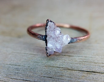 Amethyst Geode Ring Electroformed in Copper  //  US Size 6 1/2