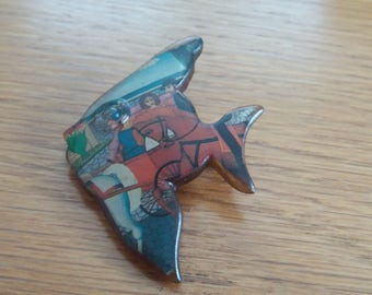 Vintage Collage Fish Brooch - Racing Chic Kitsch Unusual Piece - 50s Wood? - Nordic Hygge