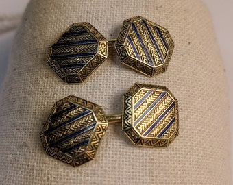 1920s Art Deco 14k yellow gold and blue enamel cufflinks