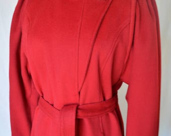 vintage 1970's avant garde cranberry red wool coat S/M