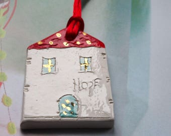 HOPE Red house ornament, Gift wrap tag Christmas tree decor, Clay Tags, White Glazed Ceramics ornament, Living room decor
