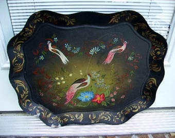 Early Toleware Tray, Birds, Flowers, Hand Painted Tole Tray