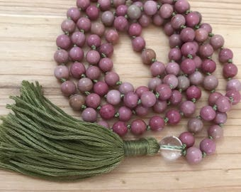 Mala Beads- Mala Necklace- Knotted Mala, Rhodonite, Unakite, Tassel Necklace, Yoga, Meditation