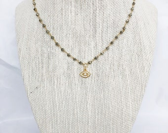 Rhinestone Evil Eye on Pyrite Chain
