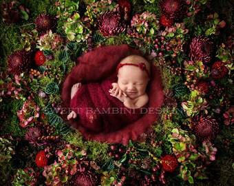 """Newborn digital backdrop - Shades of red flower wall - """"Ruby"""""""