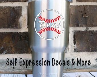 Baseball Softball Yeti Personalized Vinyl Decal