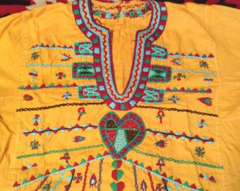 Vintage Egyptian Hand Embroidered Kaftan Top with Magical Symbols